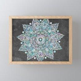 Mermaid Mandala on Deep Gray Framed Mini Art Print