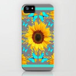 Decorative Yellow Sunflowers & Blue Butterflies Design Grey Art iPhone Case