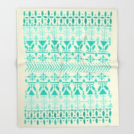 Norwegian Pattern – Aqua on White Throw Blanket