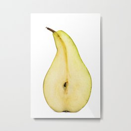 Half of pear on white background Metal Print