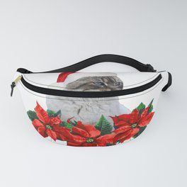 Santa Claus - Merry Christmas Poinsetta Flowers grey Cat Fanny Pack