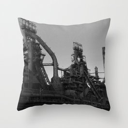 Bethlehem Steel Plant Photo 7 in black and white Throw Pillow