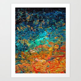ETERNAL TIDE 2 Rainbow Ombre Ocean Waves Abstract Acrylic Painting Summer Colorful Beach Blue Orange Art Print