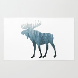 Misty Forest Moose Rug