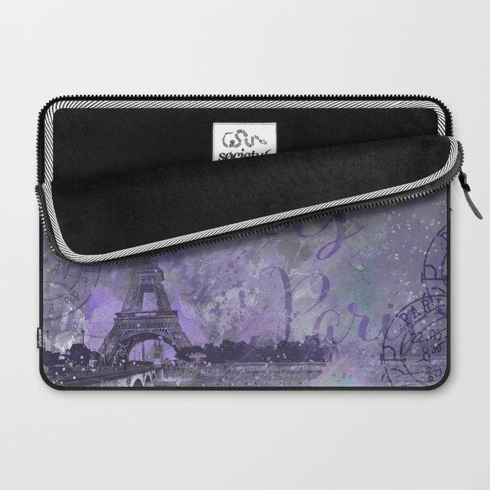 Purple Paris Watercolor Art Laptop Sleeve