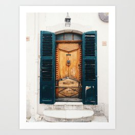 Lovely door with blinds in Saint Cézaire Sur Siagne, France Art Print