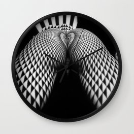 0364-JAL Nude Geometric Erotica Black & White Naked Woman Behind Below Bum Butt Ass Wall Clock