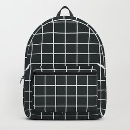 Charleston green - grey color - White Lines Grid Pattern Backpack