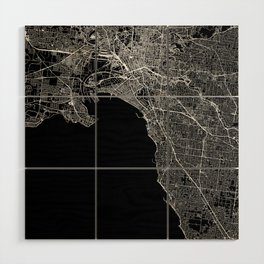 Melbourne Black Map Wood Wall Art