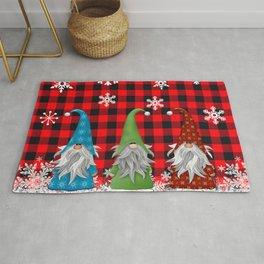 Christmas Gnome Lumberjack Plaid Rug