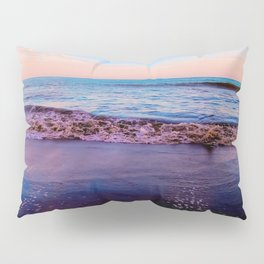 beach sunset with beautiful blue cloudy sky and blue wave in summer Pillow Sham