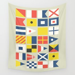 Geometric Nautical flag and pennant Wall Tapestry