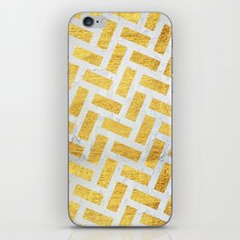 Brick Pattern 1 in Gold and Silver iPhone Skin