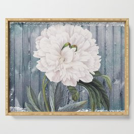 White Peony On Winter Grey Fence Serving Tray