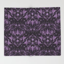 Bats and Beasts (Purple) Throw Blanket