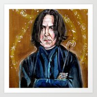 snape Art Prints featuring Professor Snape by dawn schreiner