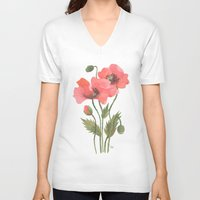 poppies V-neck T-shirts featuring POPPIES by Oana Befort