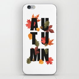 Autumn word and leaves BLACK iPhone Skin