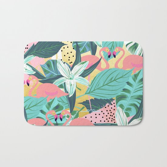 Flamingo Tropical #society6 #decor #buyart Bath Mat
