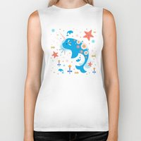 narwhal Biker Tanks featuring Narwhal & Babies  by Carly Watts