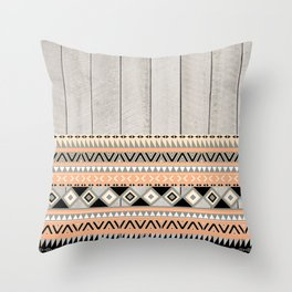 Peach Coral Andes Abstract Aztec Tribal Gray Wood Throw Pillow