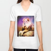 the lion king V-neck T-shirts featuring King Lion by SwanniePhotoArt