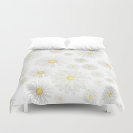 white daisy pattern watercolor Duvet Cover