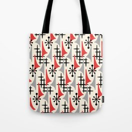 Mid Century Modern Atomic Wing Composition 234 Red and Gray Tote Bag