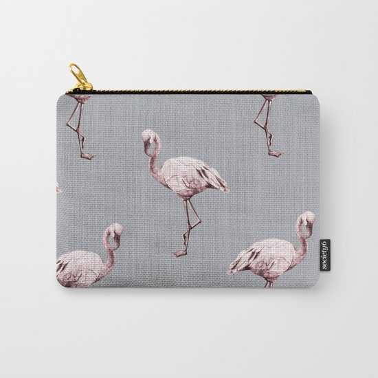 Simply Flamingo on Concrete Gray Carry-All Pouch