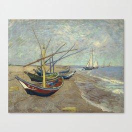 Fishing boats on the beach at Les Saintes-Maries-de-la-Mer Canvas Print