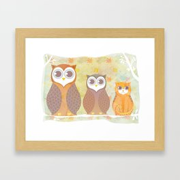 Owls and cat Framed Art Print