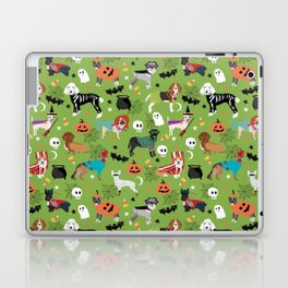 Dogs halloween costumes cute pumpkin ghost skeleton witch trick or treat Laptop & iPad Skin