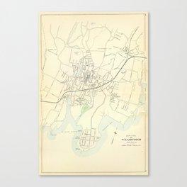 Vintage Map of Stamford CT (1893) Canvas Print