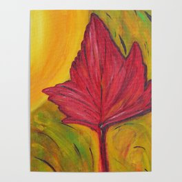 Luminous Red Maple Leaf Poster