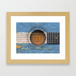 Old Vintage Acoustic Guitar with Argentine Flag Framed Art Print
