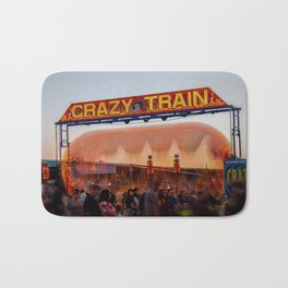 All Aboard the Crazy Train carnival ride Bath Mat