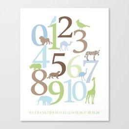 Animal Numbers - Brody colorway Canvas Print