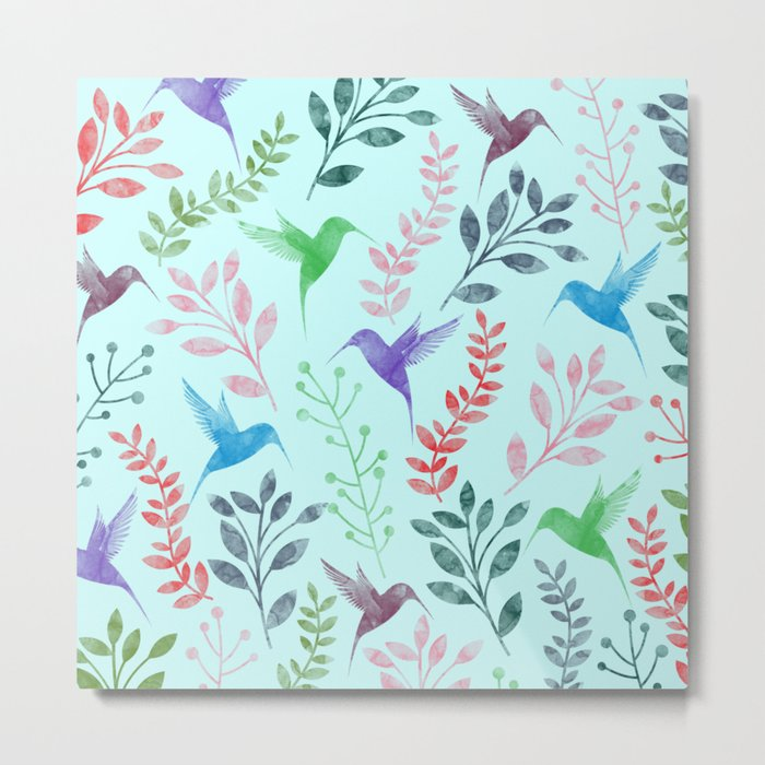 Watercolor Floral & Birds III Metal Print