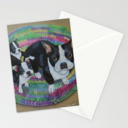 Boston Terrier and Puppies Stationery Cards