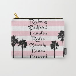 Beverly Hills Street Names Palm Trees Pink Stripes Carry-All Pouch