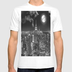New York Under the Moon MEDIUM White Mens Fitted Tee