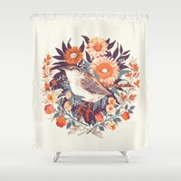 bird Shower Curtains featuring Wren Day by Teagan White