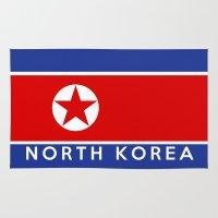 korea Area & Throw Rugs featuring flag of North Korea by tony tudor