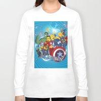 superheroes Long Sleeve T-shirts featuring Superheroes by Adrien ADN Noterdaem