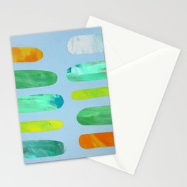 Green Pegs in Blue Stationery Cards