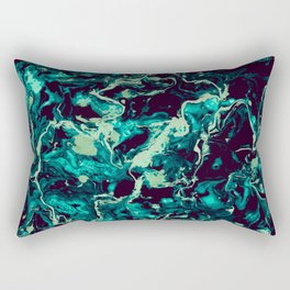 Neon cyan Glow splash on black Liquid paint art Rectangular Pillow
