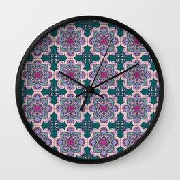 Floral ornamet tile Wall Clock