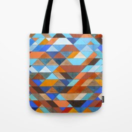 Triangle Pattern no.18 blue and orange Tote Bag