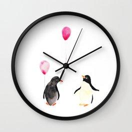 Watercolor Penguins and Balloons Wall Clock