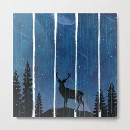 Meteor Shower Deer Night Metal Print
